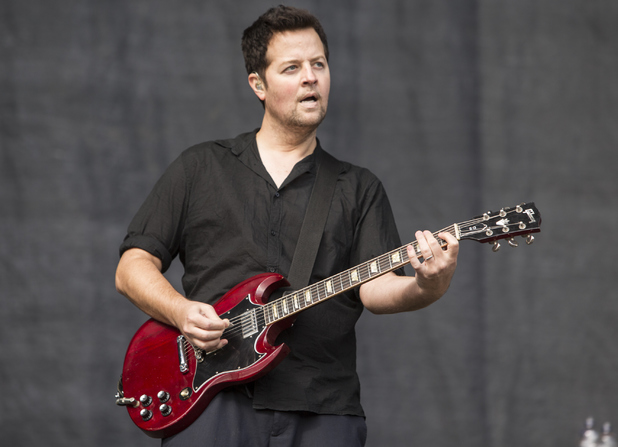 Tom Linton of Jimmy Eat World performs on stage at Leeds Festival at Bramham Park