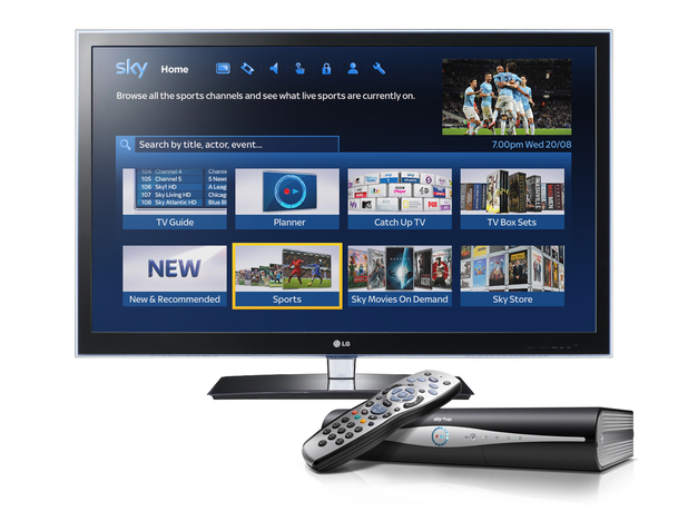Sky EPG home page Sport with remote