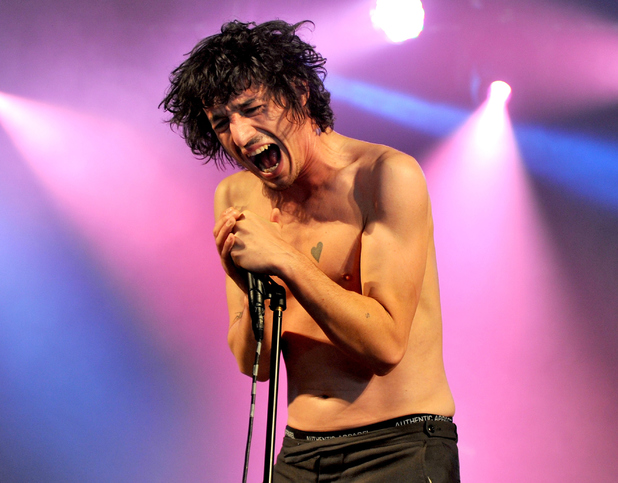 Lias Saudi of The Fat White Family performs on Day 2 of the Leeds Festival at Bramham Park