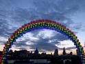 The Midnight Rainbow installation is made from 150 Galaxy Tab S slates.
