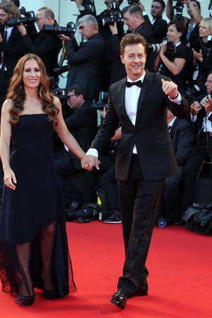 VENICE, ITALY - AUGUST 27: Edward Norton and Shauna Robertson attend the 'Birdman' Premiere during the 71st Venice Film Festival on August 27, 2014 in Venice, Italy. (Photo by Franco Origlia/Getty Images)