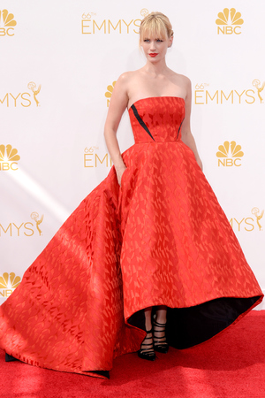 LOS ANGELES, CA - AUGUST 25: 66th ANNUAL PRIMETIME EMMY AWARDS -- Pictured: Actress January Jones arrives to the 66th Annual Primetime Emmy Awards held at the Nokia Theater on August 25, 2014. (Photo by Kevork Djansezian/NBC/NBC via Getty Images)