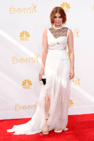 LOS ANGELES, CA - AUGUST 25: 66th ANNUAL PRIMETIME EMMY AWARDS -- Pictured: Actress Kate Mara arrives to the 66th Annual Primetime Emmy Awards held at the Nokia Theater on August 25, 2014. (Photo by Kevork Djansezian/NBC/NBC via Getty Images)
