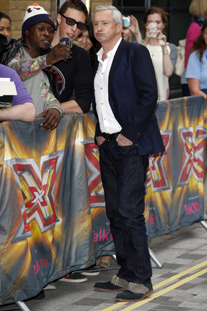 LONDON, UNITED KINGDOM - AUGUST 27: Louis Walsh seen arriving at the Ham Yard Hotel for the launch of the X Factor 2014 on August 27, 2014 in London, England. Photo by Alex Huckle/GC Images)