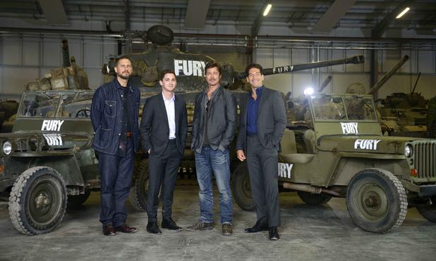 'Fury' film photocall at Bovington Tank Museum, Dorset, Britain - 28 Aug 2014Writer David Ayer, Logan Lerman, Brad Pitt and Jon Bernthal