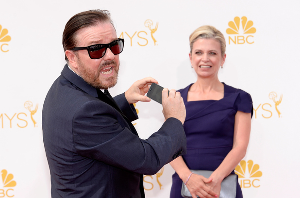 LOS ANGELES, CA - AUGUST 25: 66th ANNUAL PRIMETIME EMMY AWARDS -- Pictured: (l-r) Actor Ricky Gervais and Jane Fallon arrive to the 66th Annual Primetime Emmy Awards held at the Nokia Theater on August 25, 2014. (Photo by Kevork Djansezian/NBC/NBC via Getty Images)