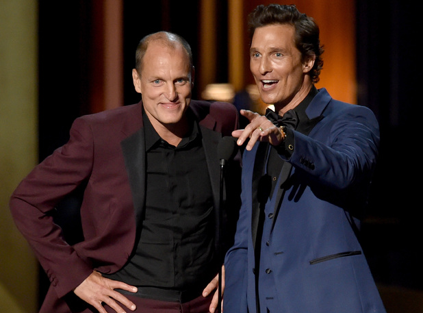 Woody Harrelson and Matthew McConaughey speak onstage at the 66th Annual Primetime Emmy Awards