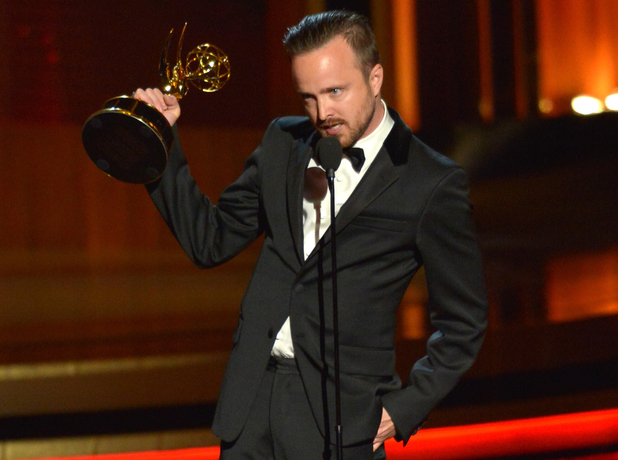 Aaron Paul speaks onstage at the 66th Annual Primetime Emmy Awards