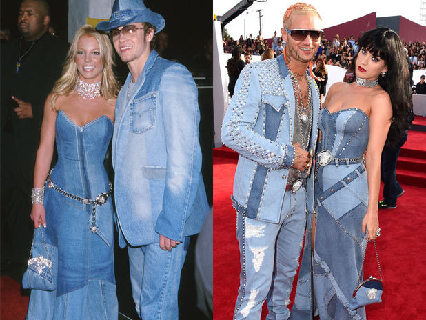 Katy Perry and Riff Raff impersonate Britney Spears and Justin Timberlake at the MTV Video Music Awards 2014