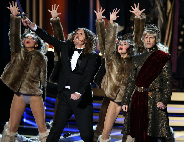 'Weird Al' Yankovic and actor Andy Samberg perform on stage during the 66th Annual Primetime Emmy Awards