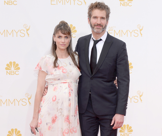 LOS ANGELES, CA - AUGUST 25: 66th ANNUAL PRIMETIME EMMY AWARDS -- Pictured: (l-r) Actress Amanda Peet write/producer David Benioff arrive to the 66th Annual Primetime Emmy Awards held at the Nokia Theater on August 25, 2014. (Photo by Kevork Djansezian/NBC/NBC via Getty Images)