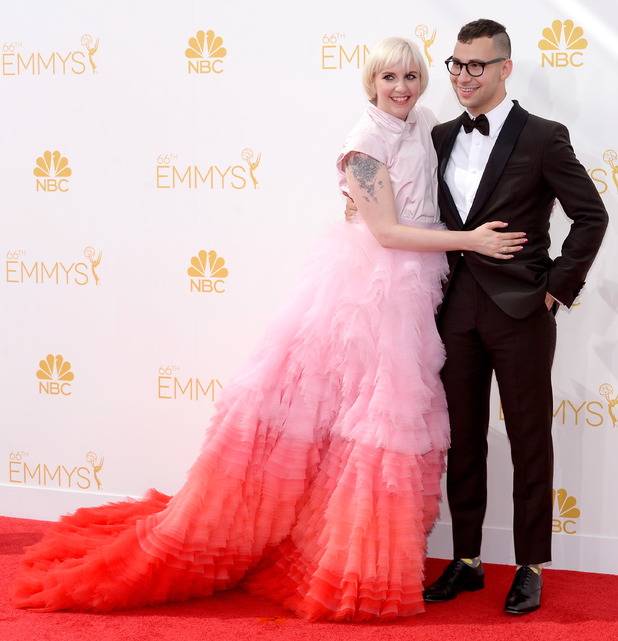 LOS ANGELES, CA - AUGUST 25: 66th ANNUAL PRIMETIME EMMY AWARDS -- Pictured: Actress Lena Dunham and musician Jack Antonoff arrive to the 66th Annual Primetime Emmy Awards held at the Nokia Theater on August 25, 2014. (Photo by Kevork Djansezian/NBC/NBC via Getty Images)