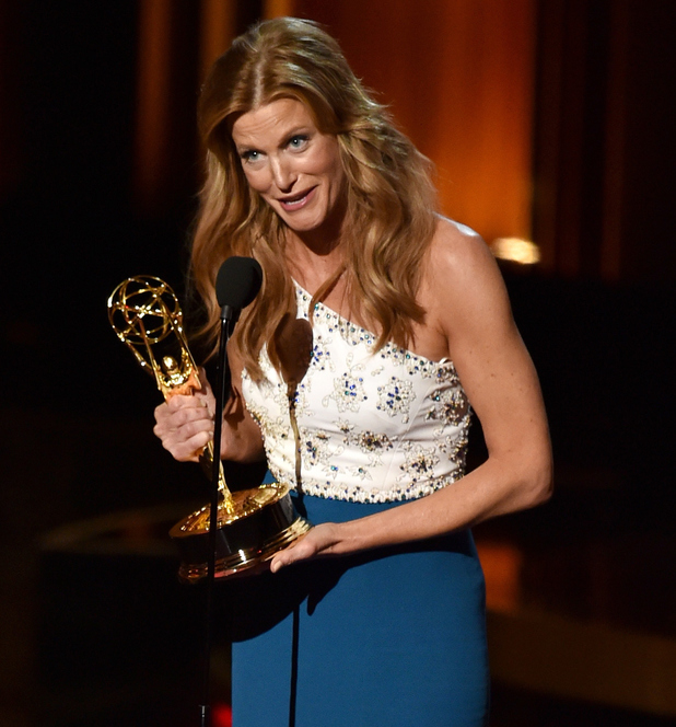 Anna Gunn accepts Outstanding Supporting Actress in a Drama Series for 'Breaking Bad' onstage at the 66th Annual Primetime Emmy Awards
