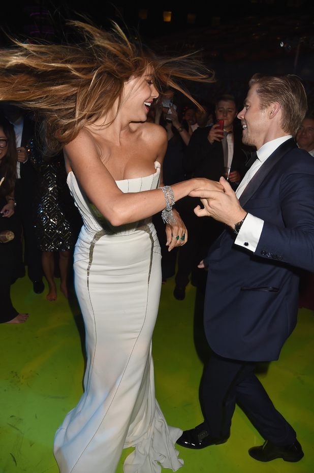 LOS ANGELES, CA - AUGUST 25: Actress Sofia Vergara and tv personality Derek Hough attend HBO's Official 2014 Emmy After Party at The Plaza at the Pacific Design Center on August 25, 2014 in Los Angeles, California. (Photo by Jeff Kravitz/FilmMagic)
