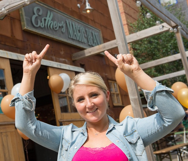 Esther shows off her new coffee shop