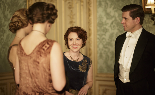 Daisy Lewis as Sarah Bunting & Allen Leech as Tom Branson in Downton Abbey series 5 premiere