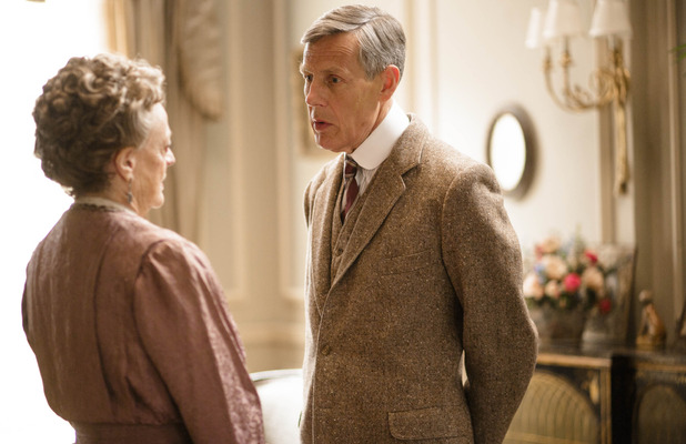 Maggie Smith as Violet, Dowager Countess of Grantham & Douglas Reith as Lord Merton as in Downton Abbey series 5 premiere