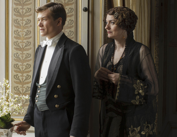 Ed Speelers as Jimmy & Anna Chancellor as Lady Anstruther in Downton Abbey series 5 premiere