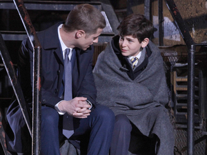 Ben McKenzie as Detective James Gordon & David Mazouz as Bruce Wayne in the series premiere of Gotham