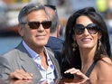 George Clooney and his bride-to-be are pictured pulling up in a water taxi.