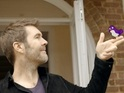Comedy panel show's new host Rhod Gilbert is seen gearing up for his first day.