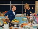Charity skit sees pop superstar and The Naked Chef face off in a kitchen battle.