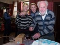 Timothy West celebrates birthday with EastEnders cast, ahead of exit.