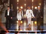 The judges arrive on stage during The X Factor week 2 results show