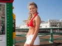 Strictly dancer dons bikini and battles cold for launch of new vending machine.