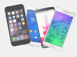 Smartphone composite image featuring the Apple iPhone 6, Sony Xperia Z3, LG G3 & Samsung Galaxy Alpha