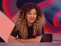 Ella Eyre is close to tears as host Nick Grimshaw brings a large balloon onto the show.