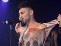 The X Factor eliminee goes shirtless for first performance since ITV show.