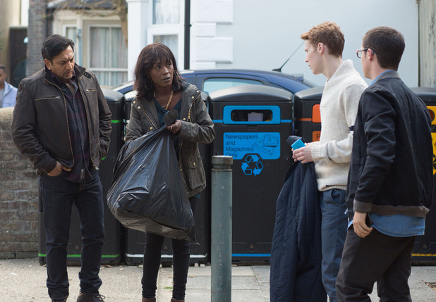 Denise runs up to a horrified Jay and takes out the carrier bag from the rubbish