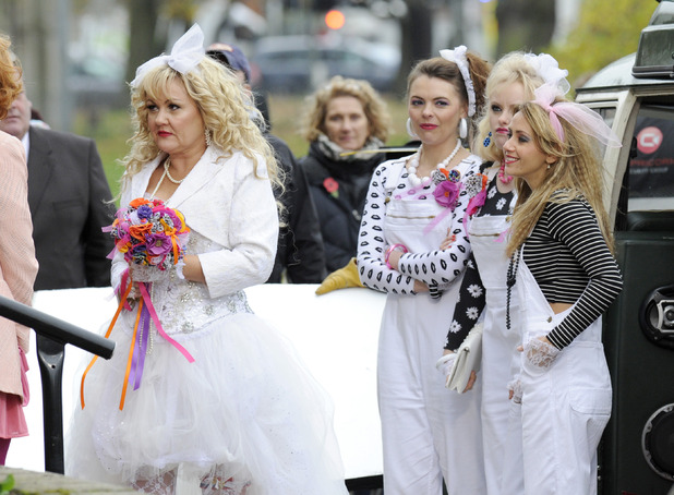 Lisa George, Kate Ford, Katy McGlynn & Samia Ghadie filming on location for the wedding of Beth & Kirk on Coronation Street