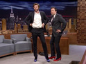 The Mockingjay star compares high heels with Jimmy Fallon.
