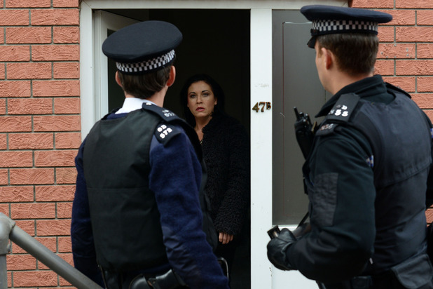 The police arrive when Kat refuses to leave the flat