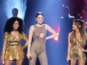 Jessie J, Ariana Grande & Nicki Minaj perform 'Bang Bang' at the American Music Awards 2014 in Los Angeles.