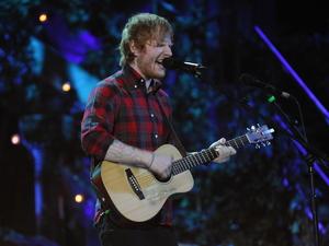 Ed Sheeran performing at the BBC Music Awards 2014