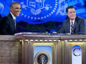Stephen Colbert interviewing Barack Obama