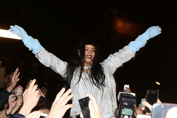 Rihanna is seen at the Trocadero gardens on December 18, 2014 in Paris, France.