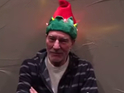 Patrick Stewart wearing a flashing elf hat