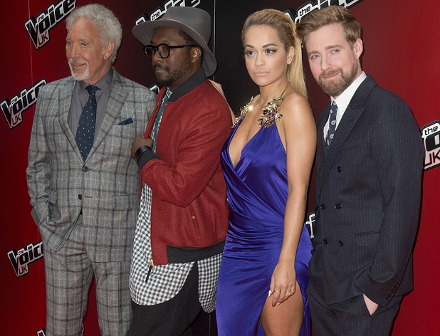 Caption:LONDON, ENGLAND - JANUARY 05: Will.i.am, Rita Ora, Ricky Wilson and Tom Jones attend the launch of 'The Voice UK' Series 4 at The Mondrian Hotel on January 5, 2015 in London, England. (Photo by Dave J Hogan/Getty Images)
