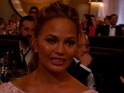 Model cries during husband John Legend's Golden Globes speech.