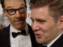 The actor interrupts Allen Leech's red carpet chat at Golden Globes afterparty.