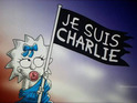 Maggie Simpson holds a flag bearing the words 'Je Suis Charlie'.