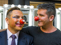 Pictures of David Walliams's makeover at the hands of Simon Cowell are unveiled.