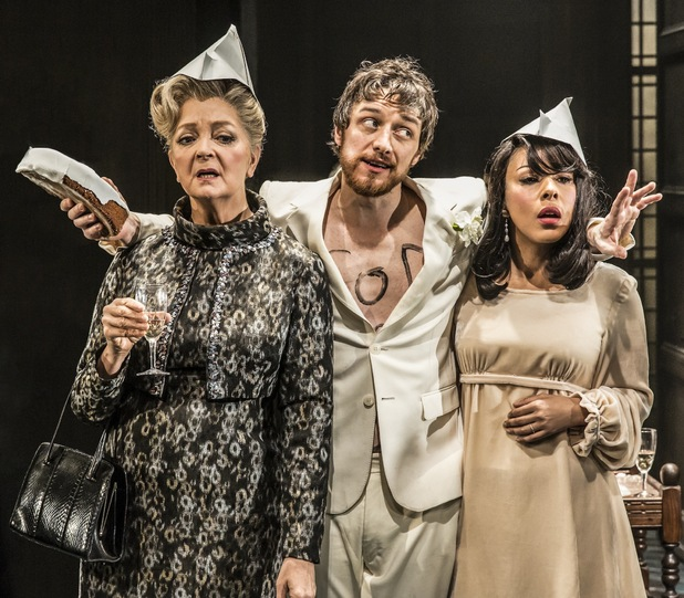 Serena Evans as Lady Claire, James McAvoy as Jack and Kathryn Drysdale as Grace in The Ruling Class