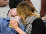 Caption:LOS ANGELES, CA - JANUARY 27: Benji Madden (L) and Cameron Diaz kiss at a basketball game between the Washington Wizards and the Los Angeles Lakers at Staples Center on January 27, 2015 in Los Angeles, California. (Photo by Noel Vasquez/GC Images)
