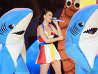 Taylor Swift laughs at Katy Perry's Left Shark during 'Bad Blood' performance