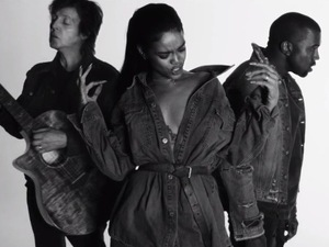 Kanye West, Rihanna and Sir Paul McCartney in 'FourFiveSeconds' video
